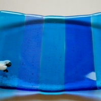Blues fused glass sheepy soap dish