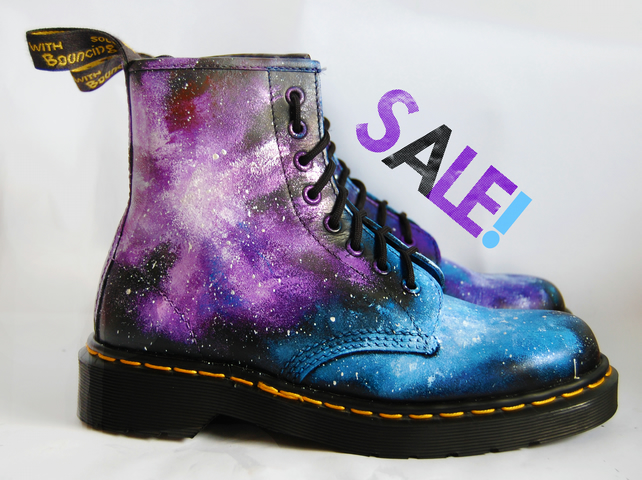 SALE. Size 5. Gothic Galaxy Cosmic Print Dr Marten Boots. Hand-painted. Space ne