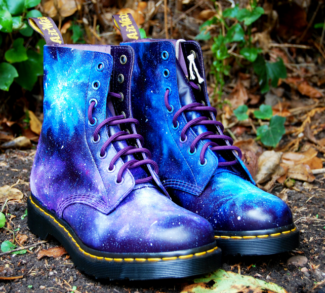 Gothic Galaxy Cosmic Print Dr Marten Boots. Hand-painted. Space nebula print.