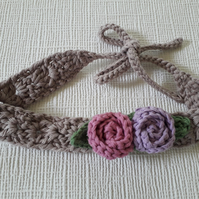 Crochet baby headband, boho headband, tie back, cotton, girl women headband gift