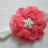 Baby girl headband, toddler, flower, pearls and rhinestones, pink headband