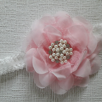 Baby girl headband, toddler, flower, pearls and rhinestones, baby pink headband