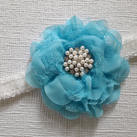 Baby girl headband, toddler, flower, pearls and rhinestones, baby blue headband