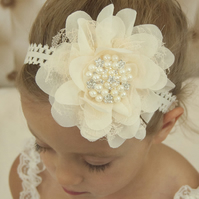 Baby girl headband, toddler, flower, pearls and rhinestones, ivory headband