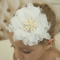 Baby girl headband, toddler, flower, pearls and rhinestones, white headband