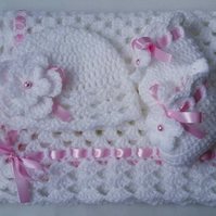 Pattern Crochet Baby Blanket, Hat and Booties, white, PDF file n11