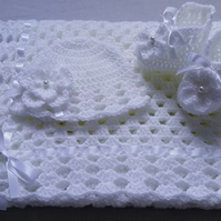 Pattern Crochet Baby Blanket, Hat and Booties, white, PDF file n32