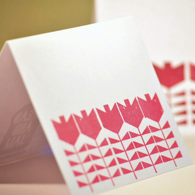 Five Cherry Pink Flowers - Block Printed Card