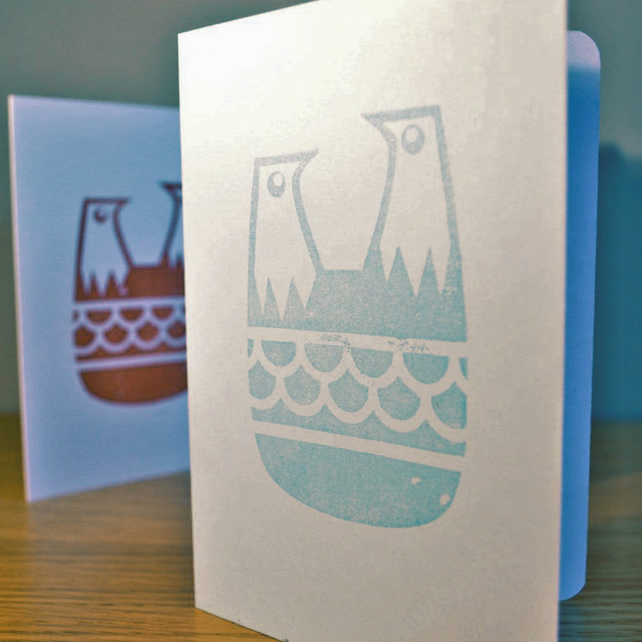 Two Blue Birds - Block Printed Card