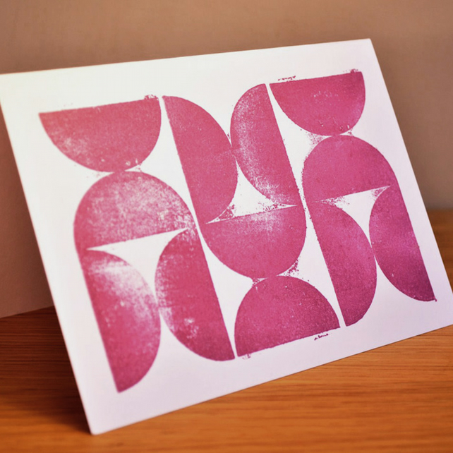 Chalky Plum Yo-Yo's - Block Printed Card
