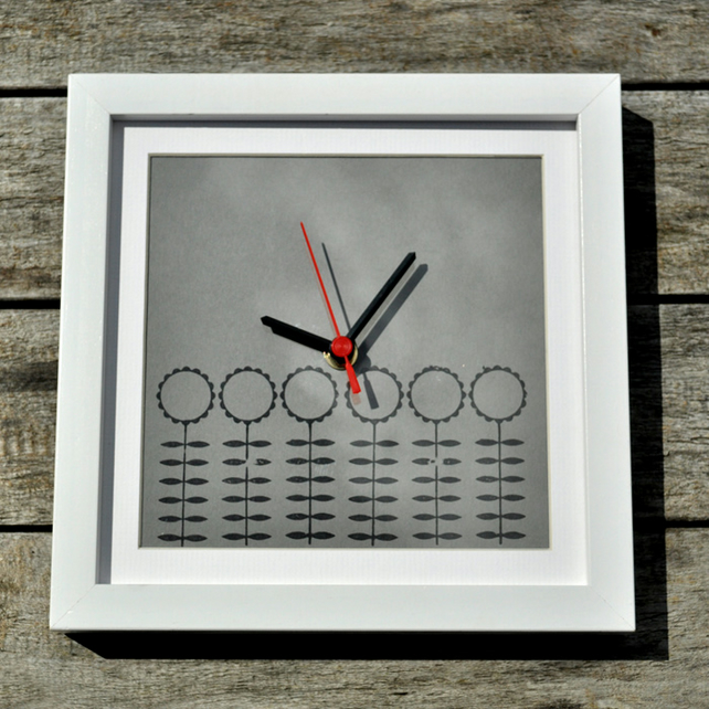 Hand Printed Clock - Skinny Flowers on Mid Grey