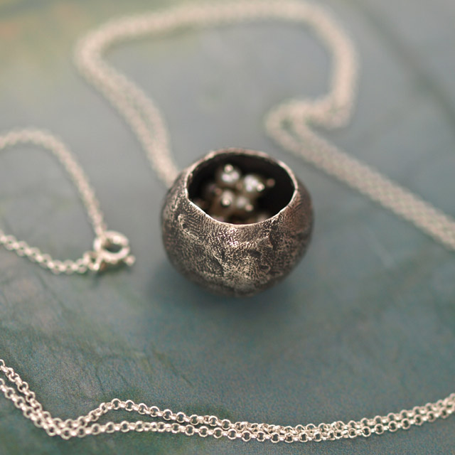 Silver Cavern Pendant - handmade oxidized silver and pearl necklace