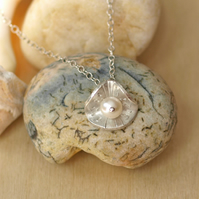 Silver Shell Inspired Button and Pearl Pendant, handmade jewellery necklace