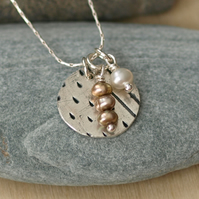 Dots and Stripes Circle with Pearls Pendant