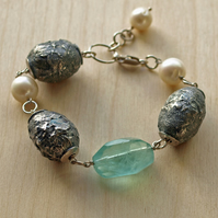 Textured Beads and Green Flourite Bracelet