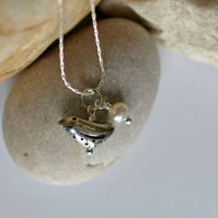 Little Patterned Bird and White Freshwater Pearl Pendant - handmade jewellery