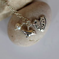 Bird, Patterned Heart and Pearl Charm Pendant