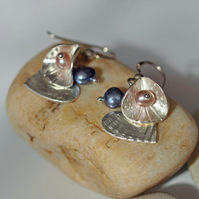 Button, Shell Heart and Blue and Pink Pearl Earrings