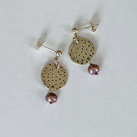 dot dash circles with lilac pearls earrings