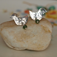 hammered birds with green tourmaline studs