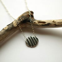 Ridged Silver Oval Necklace