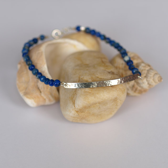 Lapis Lazuli and Solid Silver Bar Bracelet, hammered texture