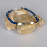 Sterling Silver Hammered Bar Bracelet with Lapis Lazuli Beads
