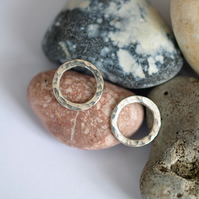 Sterling silver hammered circle studs - handmade jewellery