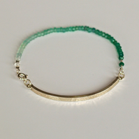 Custom Made Ombre Green Onyx Bracelet - hammered sterling silver