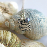 Shell Heart with Sea Urchin and Blue Pearl Pendant - charm necklace - nautical