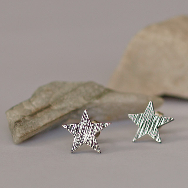 Sterling Silver Star Stud Earrings with Hammered Line Detail, handmade gifts