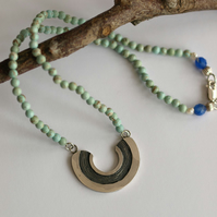U Know Necklace - sterling silver and faux turquoise