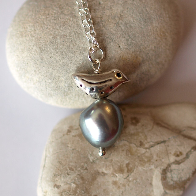 Silver Bird Pendant with Large Baroque Pearl - handmade jewellery