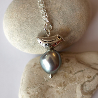 Bird Pendant with Large Silver Baroque Pearl