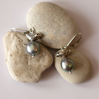 Fine Silver Birds with Large Silver Baroque Pearls - handmade jewellery gift
