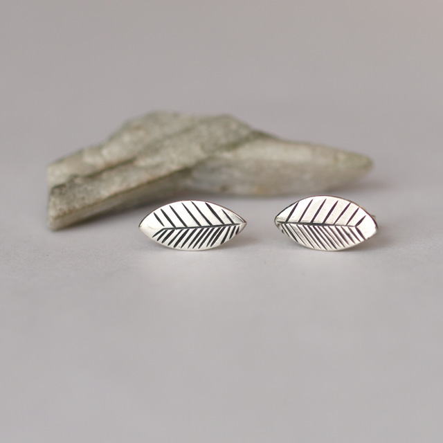 Silver Leaf Stud Earrings - Inspired by Nature