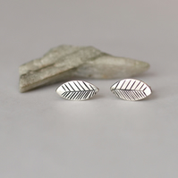 Graphic Print Leaf Studs - handmade sterling and fine silver earrings