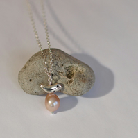 Silver Bird and Large Pink Pearl Pendant - Nature Inspired Jewellery Gifts
