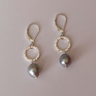 Sterling Sterling Hammered Circles and Silver Pearl Earrings - handmade