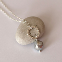 Hammered Circles and Baroque Silver Pearl Pendant - handmade jewellery gift