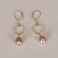 Sterling Silver Hammered Circles and Baroque Pink Pearl Earrings  - handmade