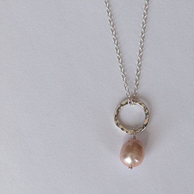 Sterling Silver Hammered Circles and Large Pink Pearl Pendant  - handmade
