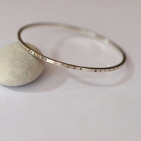 Sterling silver personalised message bangle (follow your dreams)
