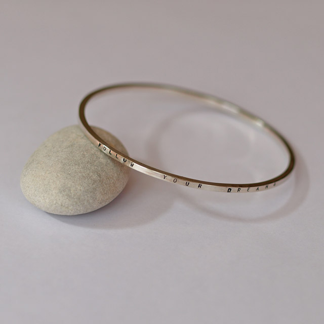 Personalised Sterling Silver Bangle, Message Bangles
