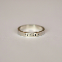 "Sterling Silver Ring with Message ""follow your dreams"" - personalised jewellery"
