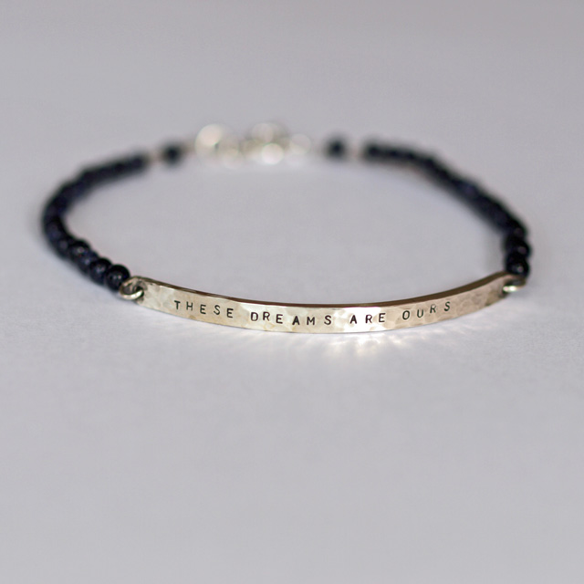Personalised Hammered Tag Bracelet (These Dreams Are Ours) Blue Goldstone