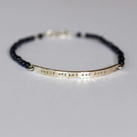 Personalised Hammered Bar Bracelet (These Dreams Are Ours) Blue Goldstone