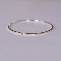 Silver Bangle with message and gold heart (you & me)