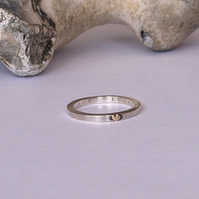 Silver Ring with Gold Heart and Hidden message (love you always)