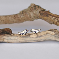 Little Patterned Bird Stud Earrings - silver women's handmade jewellery